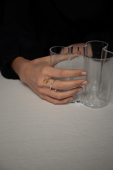 Mies Ring, 925 Sterling Silver, Citrine